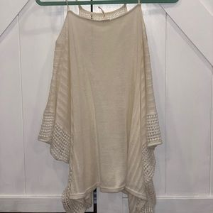 Free People crochet cut out shoulder tee